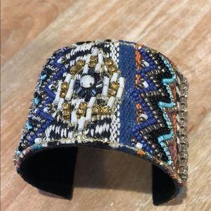 Woven,Beaded & Crystal Artisan Boho Cuff,NWT